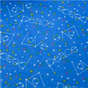 Love & Peace Cotton Flannel, Sewing, Quilting Blue FQs