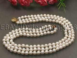 ROWS 7 8MM WHITE BLACK AKOYA PEARL NECKLACE