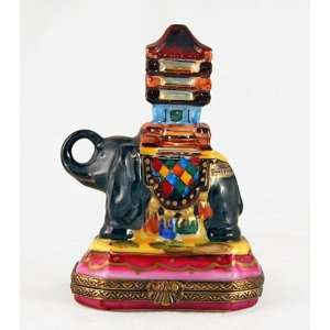 Asian Elephant Colorful French Limoges Box