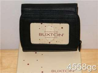 BUXTON BLACK LEATHER FRENCH PURSE ZIP ROUND WALLET