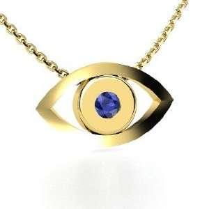 Evil Eye Pendant, Round Sapphire 14K Yellow Gold Necklace Jewelry