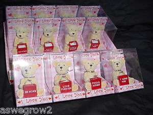New resin Valentine Teddy Bear & ring in clear gift box