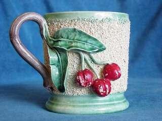 Antique French Barbotine Majolica FROG MUG Cherries