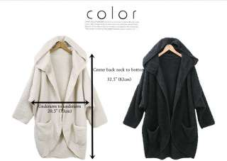 HOODED FAUX LAMB FUR COAT loose fit soft light open long jacket FREE