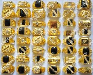 wholesale lots 25pcs gold tone rhinestone mens rings