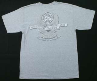 Smith & Wesson Logo T Shirt Protecting America Gray New
