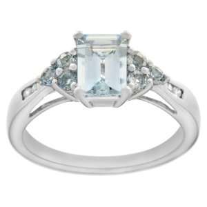 Aquamarine, Blue Topaz and Diamond Octagon Ring, Size 8 Jewelry
