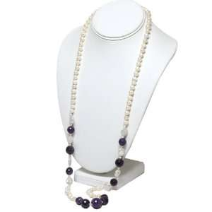 37 Inches White Freshwater Pearl & Amethyst Necklace Jewelry