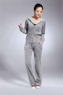 NWT Korean Women Velvet Hoodie Sweater jacket Pant Suit 6 Colors 4