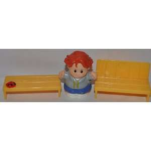 Little People Red Haired School Boy 1998, Yellow Bench, & Yellow Seat