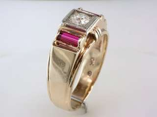 Antique Deco Ruby Genuine Diamond .70ct Yellow Gold Mens Engagement