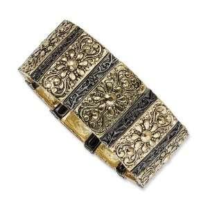 Brass tone Black plated Fancy Stretch Bracelet/Mixed Metal Jewelry