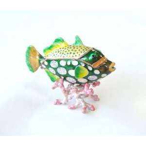 Tropical GREEN Fish on Coral Trinket Box w/ Crystals Everything Else