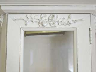 Shabby Cottage Chic White Display Curio Cabinet Glass Door Roses