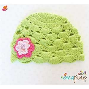 Bonnet (Apple Green with Flower)) Super Soft Baby Animal Cotton Hats