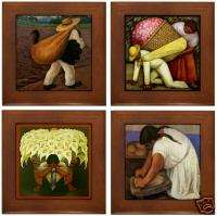 Diego Rivera 4 Framed Ceramic Art Tiles Assorted