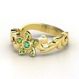Jasmine Ring, 14K Yellow Gold Ring with Emerald & Green
