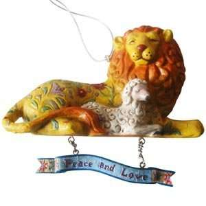 Jim Shore Heartwood Creek Lion And Lamb Christmas Ornament
