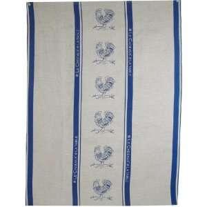 Le Cadeaux Rooster Pair Blue Linen Dish Towels: Kitchen & Dining