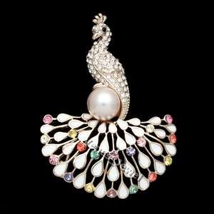 Multi Color Gold Peacock Bird White Enamel tail Pearl Crystal Brooch