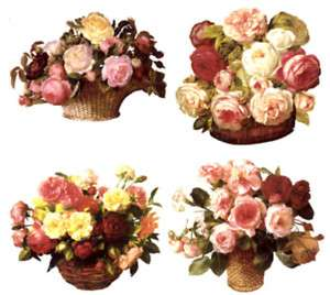 Victorian Rose Flower Basket Ceramic Waterslide Decals