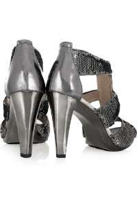 MICHAEL KORS BERKLEY T STRAP WOMENS SEQUINS/METALLIC GUNMETAL HEELS