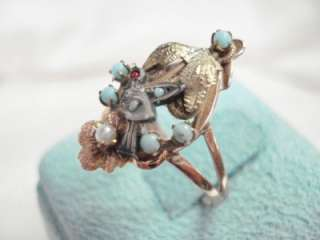 ANTIQUE GEORGIAN 12K ROSE GOLD ROSE CUT GEMSTONE SEEDPEARL BIRD RING