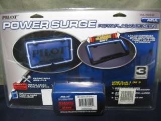 is a NEW PILOT BLUE NEON LICENSE PLATE FRAME 3 SETTING SURGE