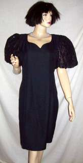 Vintage Jessica Howard Black Sequin Poof Sleeve Dress 14