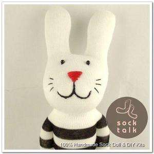 Handmade Black Striped Sock Monkey Rabbit Stuffed Animals Baby Toy