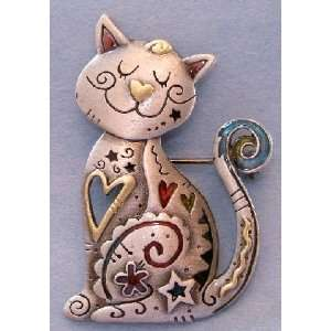 Happy Kitty Cat with Hearts and Flowers Enamel Pewter Pin