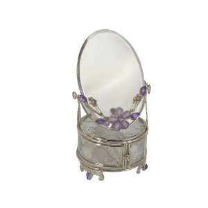 Glass Jewelry Trinket Box & Mirror w/ Lavender Flower