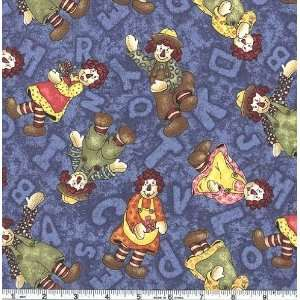 45 Wide ABC Pals Allover Rag Dolls Blue Fabric By The