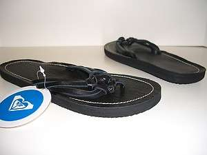ROXY SANTIAGO Black Leather Upper Womens Shoes Sandals Thongs Size 7