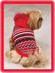 XXSM Dog Sweater Red Stripes HOODIE Chihuahua Yorkie Poodle Dog Coats