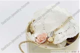 Fashion Pearl Crystal Clay Rose Flower gold plated Necklace