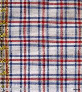 blouse dress fabric silver metallic plaid Red blue 3 yards