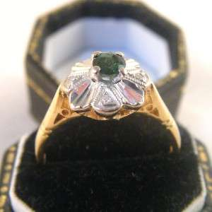 1970s GREEN TOURMALINE & DIAMOND RING in 18CT GOLD size L