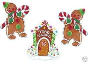 SET GINGERBREAD HOUSE & KIDS CHRISTMAS YARD DECORATION