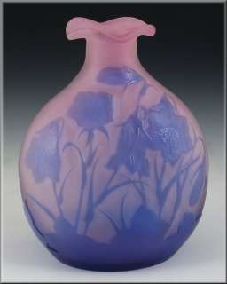 Beautiful Early Signed Galle Cameo Art Glass Vase w/ Flowers