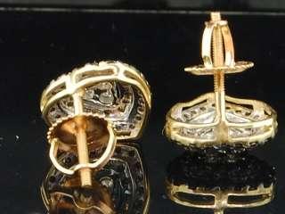GOLD CHOCOLATE BROWN BLACK DIAMOND HEART SHAPED STUDS EARRINGS