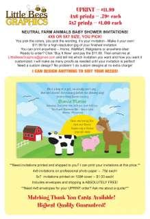 Barnyard Farm Animals Custom Baby Shower Invitations