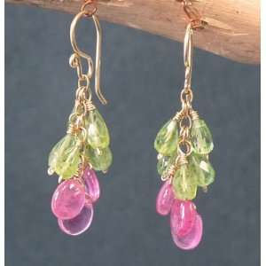 Sterling Silver Earrings Peridot and pink sapphire Jewelry