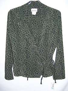 GREY BLACK LEOPARD PRINT JACKET AND SKIRT SOFT MULESKIN JALATE 9 NWT