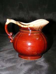Vintage McCoy USA Pottery LOVELY Brown Drip # 7528 Small 5 1/8 TALL