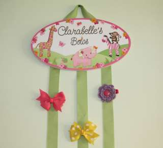 Jungle Animals Girls Bedroom Baby Nursery Hair Bow Clip Holder