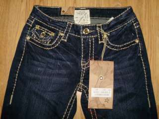 NWT LA Idol Dark Blue/Brown Stitch Boot Cut Jeans Sz0 3