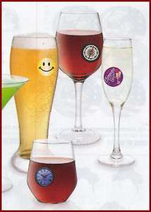 Glass Stickems Wine Charms Drink Party My Glass Tags Removable Decals