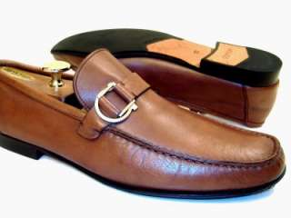 Salvatore Ferragamo Mens Brown Dress Shoes Silver Gancini Bit Loafers