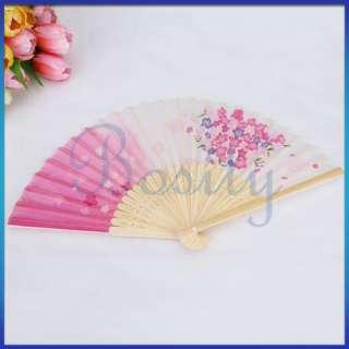 6x Mini Portable Hand Held Folding Handheld Fan Favor Flower Chinese